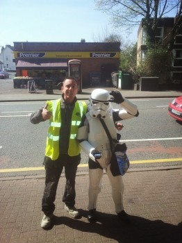 Strange looking alien creature with a stormtrooper!
