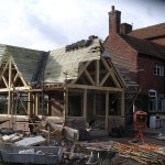 Broughton Farm - Bobbington - Oak framed garden room in construction